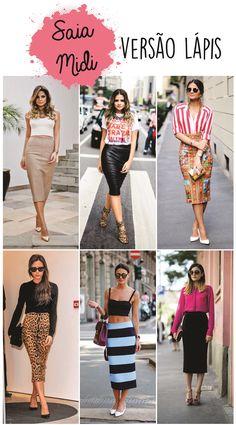 Saia midi lápis thassia naves Work Fashion, Urban Fashion, Fashion Outfits, Fashion Design, Fashion Trends, Long Skirt Fashion, Basic Outfits, Casual Street Style, Vintage Skirt