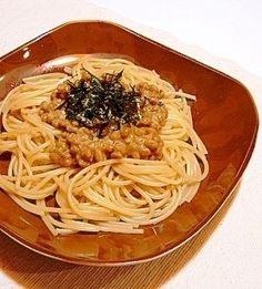 「簡単♪納豆パスタ★バター醤油味」簡単にできて洗い物も少ない!和風納豆パスタです。【楽天レシピ】