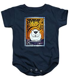 Meditation Baby Onesie Cat Art by Dora Hathazi Mendes. Cats knows best when is about meditation, relaxing mind and body. They exactly know when to switch off the engine, and when they need to recharge the batteries. Purring, is their feline version for chanting, and although we don't know exactly why they do it, the effect is obvious, the whole world calm down around them, even us just being in their aura, and listening their monotone chant. Cat Paintings by #dorahathazi