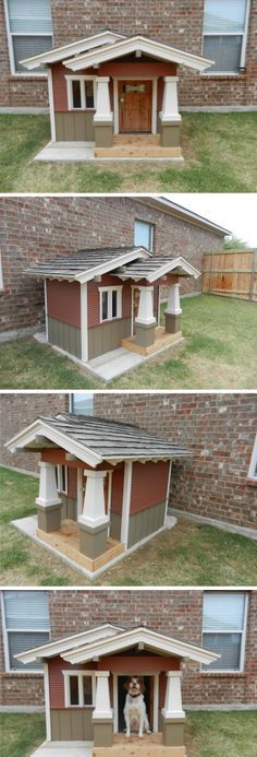 Bingley's craftsman style dog house. my Mia needs a fancy dog house li… - dog kennel boarding Dog House Bed, Dog Bed, Fancy Dog Houses, Dog Furniture, Furniture Movers, Niches, Dog Rooms, Pet Home, Animal House