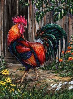 Diamond painting Cross stitch Diy Diamond embroidery Chickens in the garden square drill Diamond mosaic pasted Needlework Rooster Painting, Rooster Art, Tole Painting, Diy Painting, Chicken Painting, Chicken Art, Arte Do Galo, Chicken Pictures, Farm Art