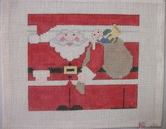 Kathy Schenkel - SANTA CLAUS Roll Up - Hand Painted Needlepoint Canvas #KathySchenkel