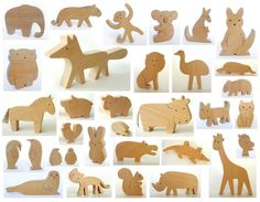 ANY 6 animals - Organic wooden toy - wooden animals - handmade