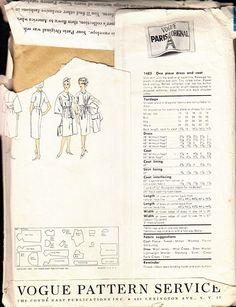 Vintage Paris Orginal by Gres 1960s Pattern Coat and Dress Vogue 1483