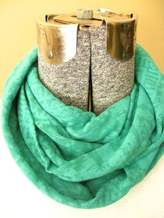 Green Tribal Burnout Print jersey knit infinity scarf-  scarf, circle scarf, free shipping, fall, winter #handmade #etsymnt