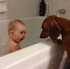 Go away, I'm taking a bath