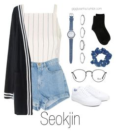 """Inspired Outfit for KCON // Seokjin"" by suga-infires ❤ liked on Polyvore featuring Topshop, WithChic, Vans, Ray-Ban, New Look and Erika Cavallini Semi-Couture"