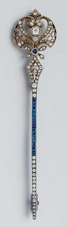 Antique Diamond and Sapphire Bar Pin. Silver gold ap. 5.5 dwt.