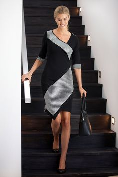 fd63549ee6 bird keepers The Contrast Striped Ponte Dress