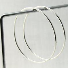 12 Gauge Sterling Silver Hoop Earrings for Stretched Piercings