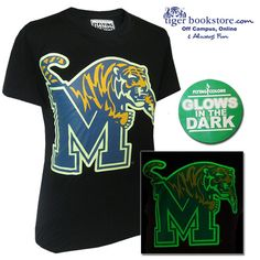 100% cotton black short sleeve tee features large University of Memphis 'M Tiger' logo that glows in the dark after exposure to any type of light. Get yours now for Memphis Tiger basketball games!