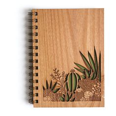 Desert Garden Botanical Lasercut Wood Journal ($29) ❤ liked on Polyvore featuring home, home decor, stationery and filler