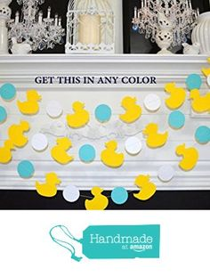 This garland is made up of card stock ducklings and circles; so adorable to use for a baby shower or to decorate your kids room. Measurements: Ducks: inch Circles: 2 inch Length of garland: Rubber Ducky Party, Rubber Ducky Baby Shower, Baby Shower Duck, Baby Shower Decorations, First Birthdays, Nursery Decor, Kids Room, Handmade, Yellow