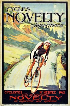 Novelty Cycles Tour de France, 1920s - original vintage poster by Martin Dupin listed on AntikBar.co.uk