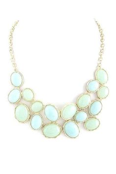 mint & blue stacked stone necklace