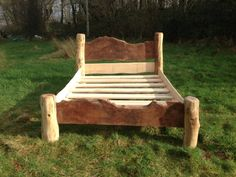 Handmade wooden bed with London plane and driftwood legs www.freerangedesigns.co.uk