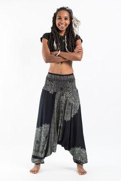 Floral Mandalas Jumpsuit Harem Pants in Black