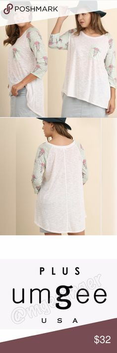 """NEW!!! PLUS SIZED WHITE/MINT TEE 3/4 sleeves. Loose fit. Hi-low hemline. 1 pocket. Model is 5'9"""" and is wearing an XL. Umgee Tops Tunics"""