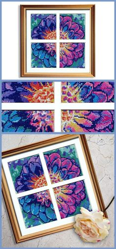 Cross Stitch Charts Our signature cross stitch patterns, perfect DIY home decor. - The Solarize Dahlia counted cross stitch pattern set will bring a touch of modern vibrance into any decor with their vivid cool tones. Cross Stitch Art, Simple Cross Stitch, Cross Stitch Flowers, Cross Stitching, Cross Stitch Embroidery, Modern Cross Stitch Patterns, Counted Cross Stitch Patterns, Cross Stitch Designs, Learn Embroidery