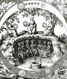"""Los """"siete metales"""" alquímicos (oro, plata, hierro, mercurio, cobre, plomo y estaño), aparecen representados en el interior de la tierra,  pero en el cielo están asociados al Sol, la Luna, Marte, Mercurio, Venus, Saturno y Júpiter, respectivamente. En las 4 esquinas de la lámina hay alegorías de los 4 elementos y las figuras centrales llevan en las manos un triángulo con el vértice hacia arriba (  fuego y aire), otro con el vértice hacia abajo (tierra y agua) y la unión de ambos triángulos"""