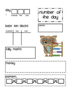 Number a day...cute idea to add to calendar books. Perhaps without the pattern part at the bottom.