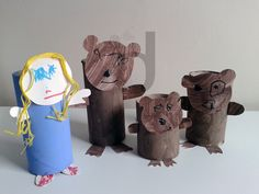 Toilet roll tube goldilocks & the three bears characters. I have the rolls . Bears Preschool, Preschool Crafts, Crafts For Kids, Arts And Crafts, Traditional Tales, Traditional Stories, Fairy Tale Crafts, Bear Character, Goldilocks And The Three Bears
