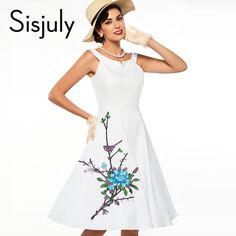 Sisjuly women vintage dress floral print party dress flower 50s pin up dress vestido de festa fashion style women dresses