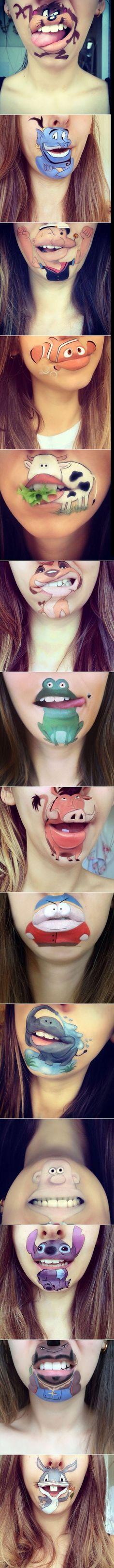 Cartoon-Figuren, wie man sie nicht erwartet Disney Eye Makeup, Creative Halloween Costumes, Halloween Makeup, Makeup Art, Lip Makeup, Dramatic Makeup, Creative Makeup, Bodypainting, Costume Makeup