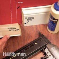 How to Install Baseboard Molding, Even on Crooked Walls How to Splice Baseboards: Cut bevels. How to Install Baseboard Molding, Even on Crooked Walls How to Splice Baseboards: Cut bevels. Baseboard Molding, Floor Molding, Base Moulding, Wall Molding, Moldings And Trim, Crown Molding, Wainscoting, How To Install Baseboards, Trim Carpentry