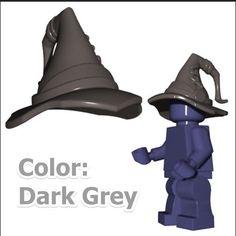 Dark Grey Wizard Hat LOTR HOBBIT Gandalf Magic Sorcerer Lego minifig Scarecrows #CustombrandNONLEGO