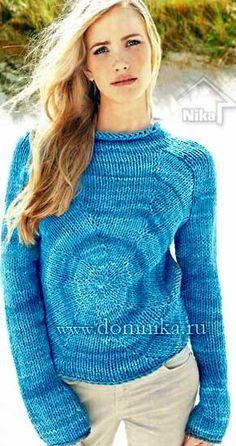 Оригинальный вязаный свитер реглан