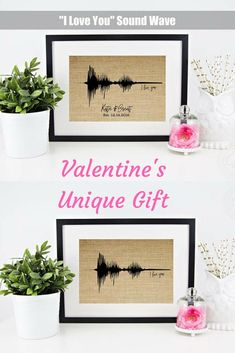 "You won't find a more unique and meaningful gift than this! Show your significant other how much you love them with this one-of-a-kind ""I love you"" sound wave burlap print! Such a fantastic and unique gift idea for my husband. Oh, he's going to love it.  #ad #etsy #custommade #valentinesdaygift #valentinesdaygiftideas"