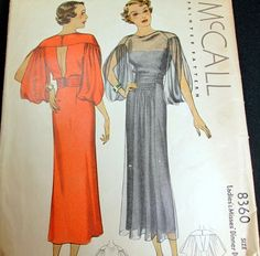McCall 8360 Dinner Dress 1935 Sz16 B34 H37  printed cut & used complete 180.49+fr 21bds 8/11/14