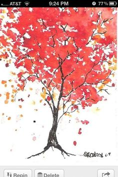 tree watercolor  could do 3 pics each tree dif color