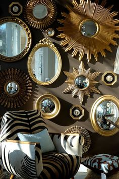 Are You a Collector? What an Inspirational Way to Display a collections of Mirrors. Gorgeous Gallery