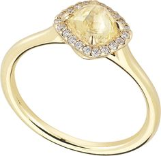 DiamondInTheRough.com Grace Ring featuring a 0.92ct rough yellow diamond accented with 0.07ct of micro pave diamonds in 18k yellow gold.
