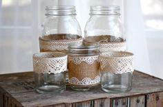 Burlap and lace mason jars / rustic wedding / country wedding / vase via Etsy