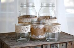 Burlap and lace mason jars / rustic wedding / by HeidieWithAnE, $24.00