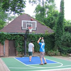 Backyard Sport Court Ideas saveemail Backyard Basketball Court And Landscaping Idea Would Love To Have A Little Half Court Basketball Goal In Our Driveway