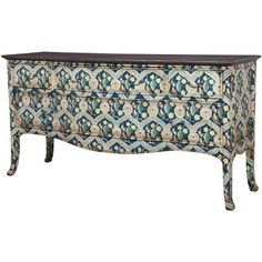 Provence Tile Art Credenza ($2,695) ❤ liked on Polyvore featuring home, furniture, storage & shelves, sideboards, storage furniture, mahogany buffet, french country furniture, french country style furniture and handpainted furniture