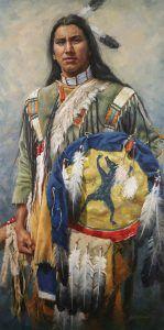 Krystii Melaine, Matȟó Iwáhaŋble Ló - I Dreamed of a Bear, Lakota, oil, 36 x 18.