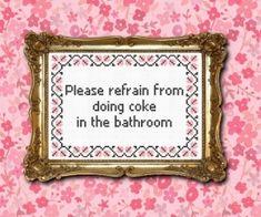 No coke in the bathroom cross stitch