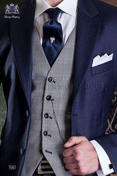 Traje de novio italiano azul marino. Traje de sastrería con 2 botones y exclusivo corte italiano. Traje elegante colección gentleman 1561 Ottavio Nuccio Gala