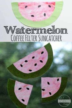 watermelon craft! These watermelon craft ideas are loads of fun for toddler, preschool, pre-k, kindergarten, and first graders because a spray bottle is involved. Plus this diy suncatchers is an easy coffee filter craft idea!Thissummer craft for preschoolers is sure to be a hit! Watermelon Activities, Watermelon Crafts, Cute Watermelon, Watermelon Carving, Coffee Filter Art, Coffee Filter Crafts, Coffee Crafts, Coffee Filters, Summer Crafts For Toddlers
