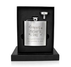 This 6oz stainless steel Hip Flask can be personalised with any message over 2 lines and up to 20 characters per line. The wording 'Happy Father's Day' is standard text.   Please note this design may vary slightly.  Ideal for Fathers Day