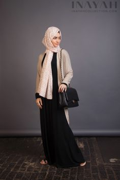 Basic Black Abaya paried with the Oatmeal Thin Knit Cardigan  the Pink Leaf Hijab for a stylish for a casual modest look. www.inayahcollection.com #modestfashion#inayah#maternity#dress