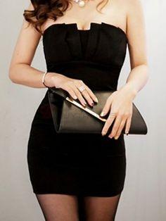 Seductive Slim Strapless Pure Color Mini Women's Party Dress Black on buytrends.com