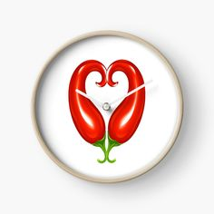'Red chillis - healthy heart - valantines for vegans -' Clock by Modern Prints, Art Prints, Quartz Clock Mechanism, Free Stickers, Hand Coloring, Clocks, My Arts, Vegan, Printed