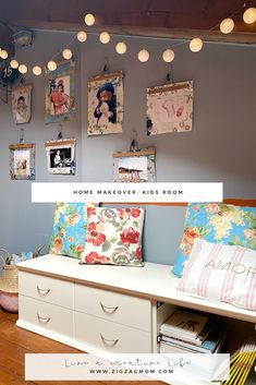 Kids room makeover. A smart idea to decorate your walls. You need just some hangers, textiles and your favorite pictures.