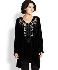 Johnny Was Plus Size Velvet Tunic
